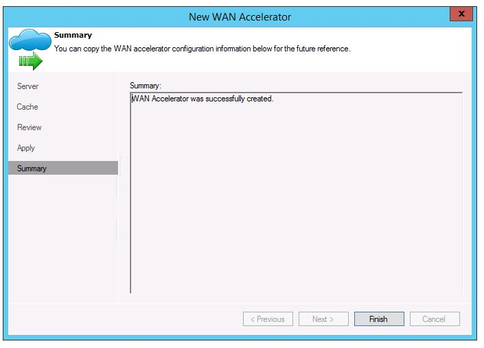 veeam 8 wan acceleration setup add new WAN Accelerator add new server install cache status installed finish