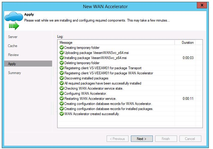 veeam 8 wan acceleration setup add new WAN Accelerator add new server install cache status installed next