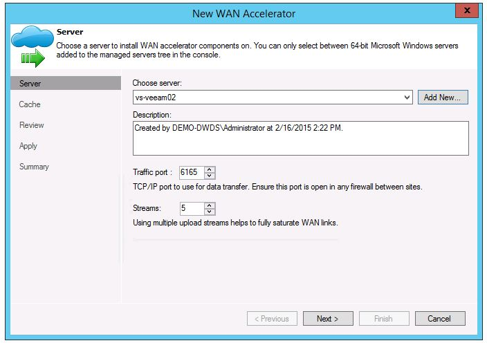 veeam 8 wan acceleration setup add new WAN Accelerator add new server install cache