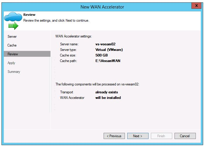 veeam 8 wan acceleration setup add new WAN Accelerator set cache drive and space install