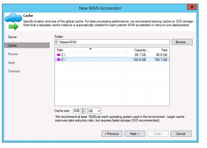 veeam 8 wan acceleration setup add new WAN Accelerator set cache drive and space