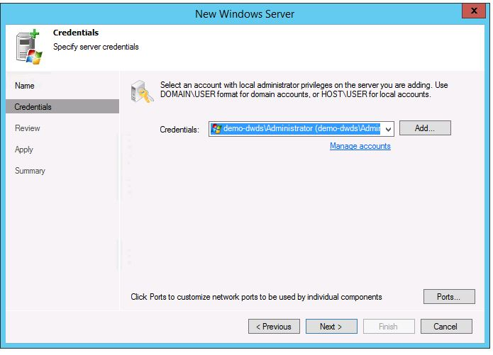 veeam 8 wan acceleration setup add new WAN Accelerator add new server select account
